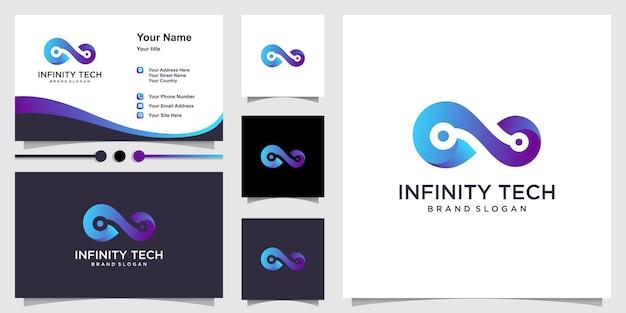 Technologie logo-ontwerp met oneindig concept premium vector