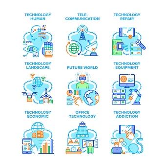 Technologie menselijke set pictogrammen vectorillustraties. reparatie en verslaving van technologische apparatuur, economisch en kantoor, toekomstig wereldlandschap en telecommunicatie. elektronica kleur illustraties