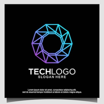 Technologie met lijntekeningen logo ontwerp vector