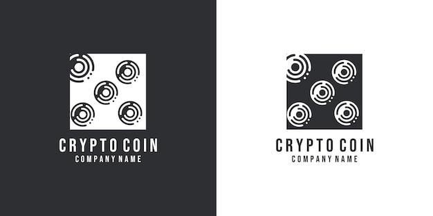 Technologie munt en visitekaartje logo ontwerp