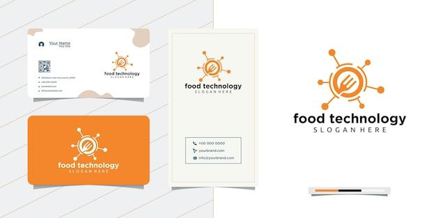 Technologie netwerk lepel voedselontwerp en visitekaartje