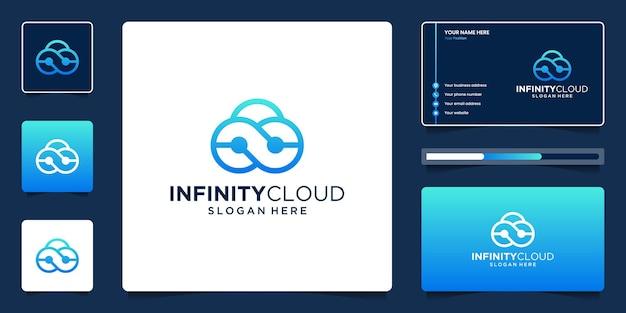 Technologie oneindig cloud-logo-ontwerp met sjabloon voor visitekaartjes
