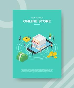 Technologie online winkel mensen staan op smartphone hangslot voor sjabloon van banner en flyer