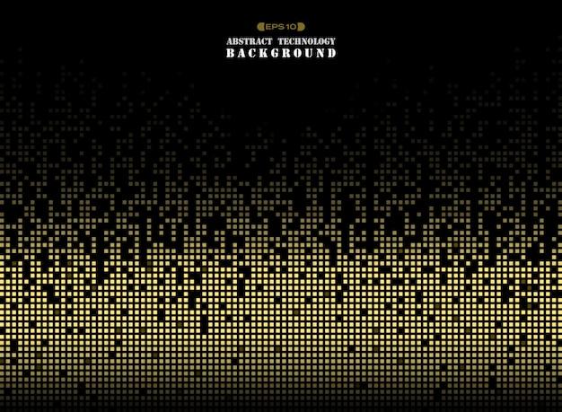 Technologie op de pixelachtergrond van het gouden kleuren vierkante patroon.