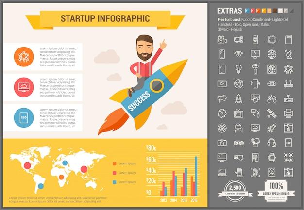 Technologie plat ontwerp infographic sjabloon en pictogrammen instellen