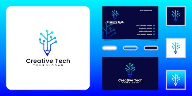Technologie potlood logo ontwerp inspiratie met onderling verbonden lijnen en visitekaartje