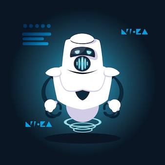 Technologie robot cartoon over blauw