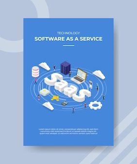 Technologie software als een service mensen staan laptop server router cloud saas-tekst voor sjabloon van banner-flyer