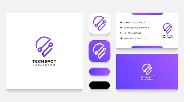 Technologie spot logo-sjabloon en visitekaartje