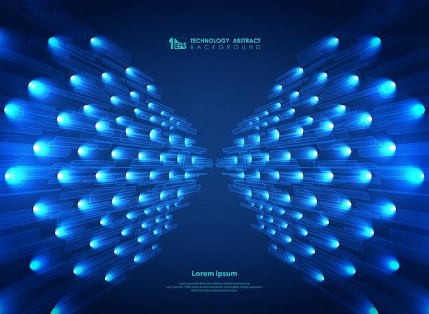Technologie streep lijn patroon met blauwe glitters achtergrond