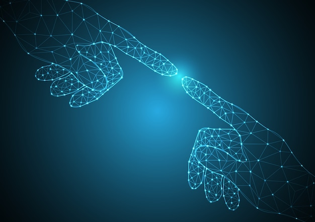 Technologie toekomstig polygoon handpunt aanraken samen