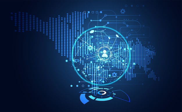 Technologie ui futuristische kaart hud interface hologram communicatie