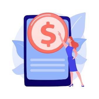Technologie voor online bankieren. e-portemonnee, e-betaling, internet-app. geld internet intrekken smartphone-applicatie. inkomsten genereren, e-commerce ontwerpelement concept illustratie