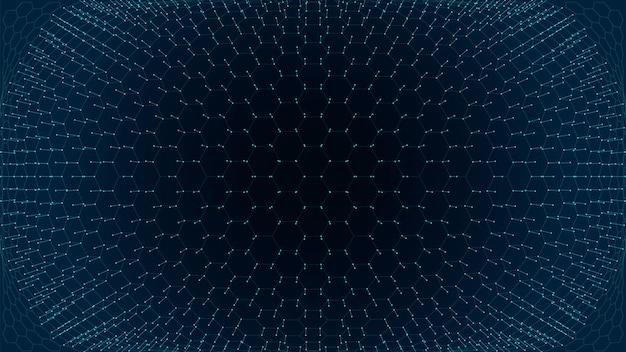 Technologie wetenschap zeshoek rasterlijnen wireframe oppervlak abstracte achtergrond
