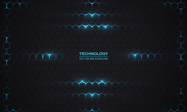 Technologie zeshoekige donkere achtergrond.