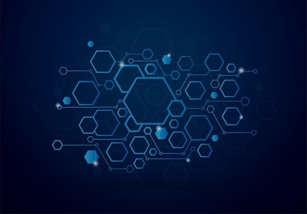 Technologieachtergrond met geometrisch hexagon concept
