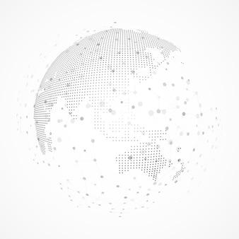 Technologiebeeld van bol. punt en curve construeerden de bol