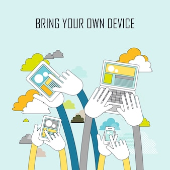 Technologieconcept: breng uw eigen apparaat in lijnstijl