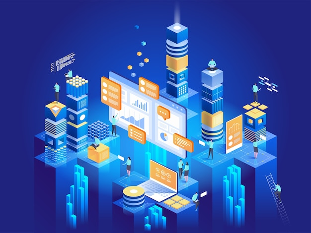 Technologieconcept van digitale marketing en app-ontwikkeling. mensen die interactie hebben met grafieken en statistieken analyseren. data visualisatie. isometrische illustratie.