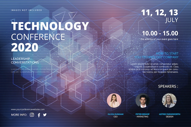 Technologieconferentie banner sjabloon