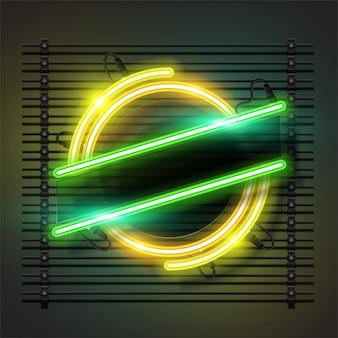 Technologiekenteken met lintontwerp in neonstijleffect