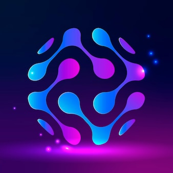 Technologielogo met abstracte wereldbol in paarse toon