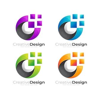 Technologielogo met pixelontwerpillustratie, kleurrijke logo's