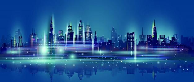 Technologieneon op de wolkenkrabberachtergrond van de binnenstad.