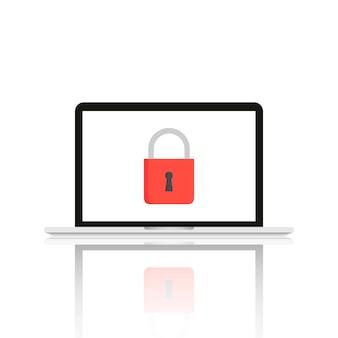 Technologieobjecten met veiligheidstekens op het scherm