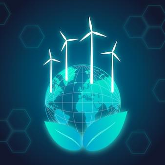 Technologisch ecologieconcept met aarde Gratis Vector