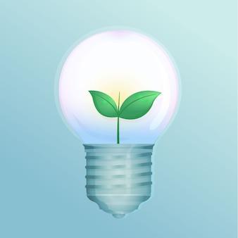 Technologisch ecologieconcept met gloeilamp