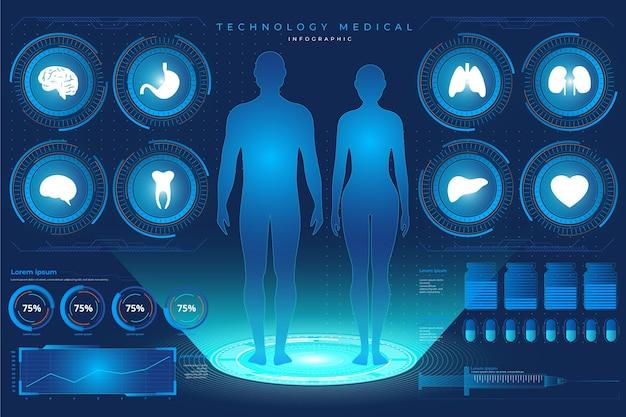 Technologisch medisch infographicsontwerp
