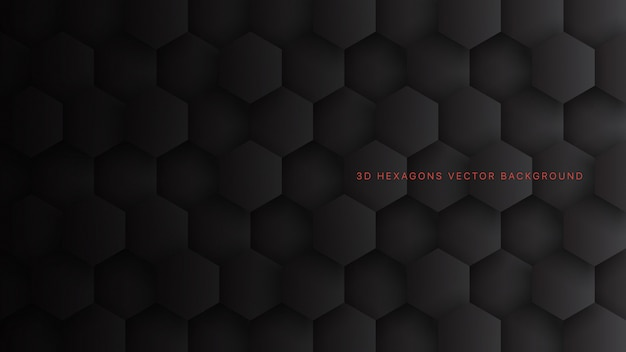 Technologische 3d hexagon blocks minimalistisch zwart