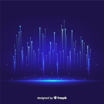 Technologische deeltjes die blauwe achtergrond vallen