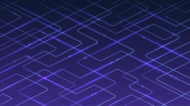 Technologische digitale blauwe achtergrond van lijnen en versnellende lichtgevende deeltjes. concept van internetconnectiviteit, informatieoverdracht, communicatie.