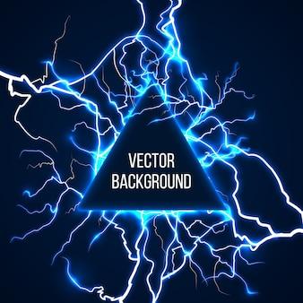 Technologische en wetenschappelijke achtergrond met bliksemschichten. energielicht, elektrische flits, schok elektriciteit storm, machtslading, vectorillustratie