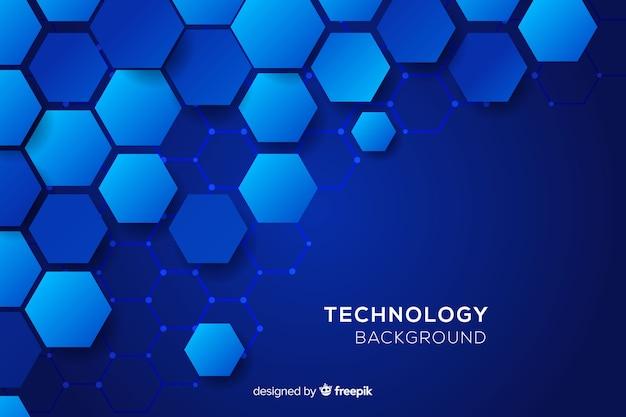 Technologische honingraat blauwe achtergrond