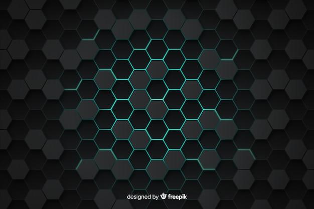 Technologische honingraat grijze en blauwe achtergrond