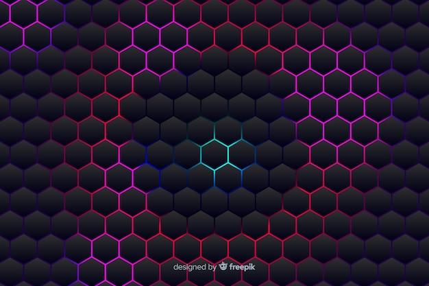 Technologische honingraatachtergrond op violette schaduwen