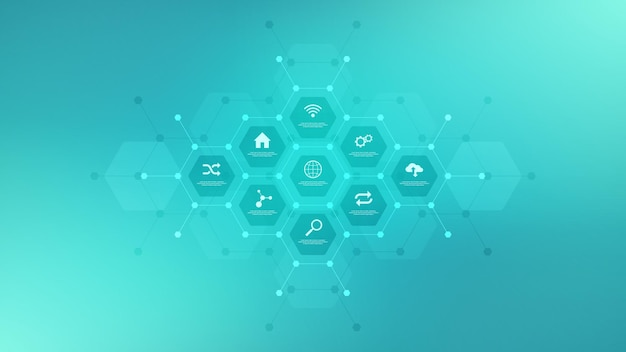 Technologische infographic achtergrond met vlakke pictogrammen en symbolen