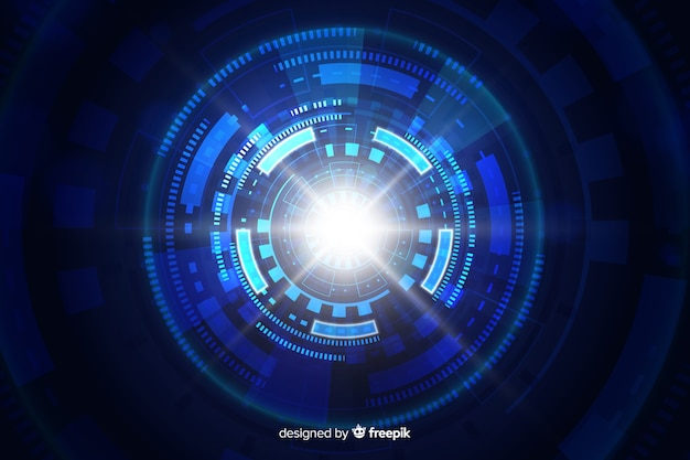 Technologische lichte tunnel futuristische achtergrond
