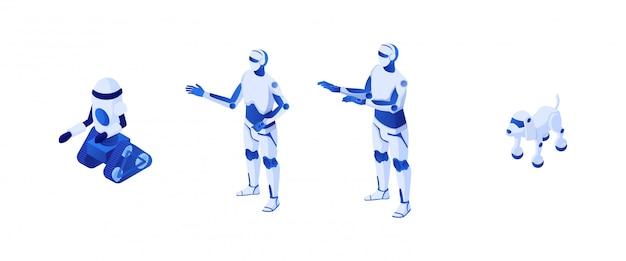 Technologische robots voor toekomstige isometrie. robotachtige illustratie humanoïde witte cyborg op rupsband-robopes