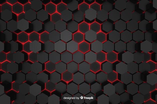 Technologische rode lichten van honingraatachtergrond