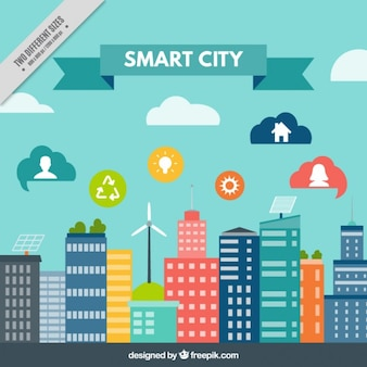 Technologische stad achtergrond in plat design met pictogrammen