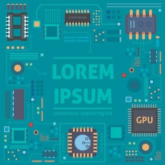 Technologische vector achtergrond met een printplaat textuur
