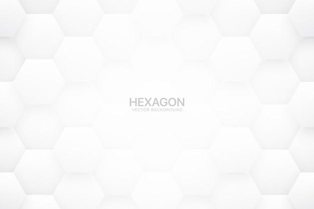 Technologische wetenschappelijke zeshoekige blokken minimale witte abstracte achtergrond