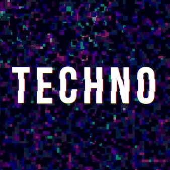 Technomuziek teken bij glitched stijl.