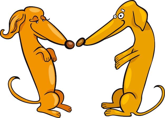 Teckel dogs in love