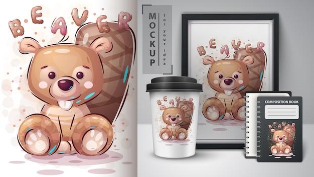 Teddy bever - poster en merchandising.