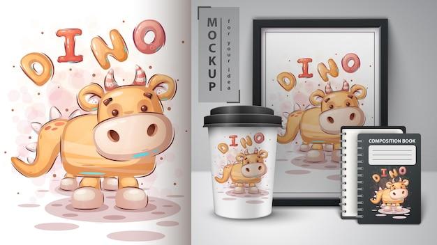 Teddy dinosaurus - poster en merchandising